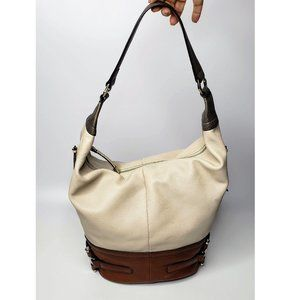 B. Makowsky Two Tone Soft Leather Shoulder Tote